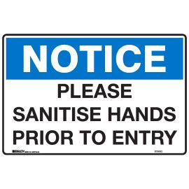 Sign Please Sanitise Hands Prior to Entry product photo
